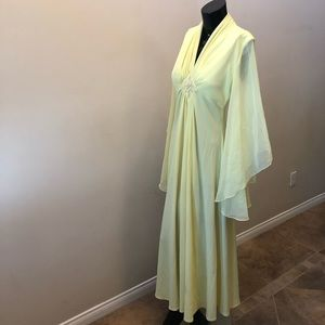Dresses & Skirts - Vintage 70's Dress sheer wings pastel yellow color